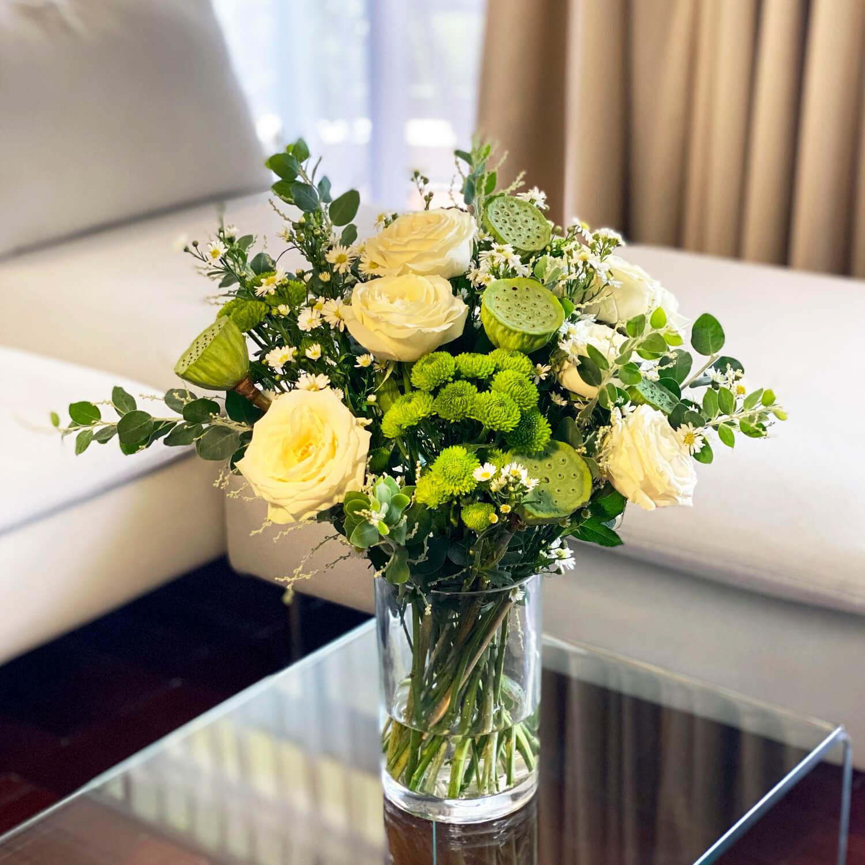 hoa aria để bàn